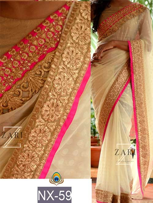 Cream Colored Beautiful Embroidered Border Georgette Saree.