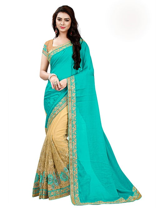 Cyan Color Beautiful Chiffon and Net saree with Blouse