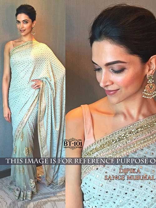 Deepika Light Blue Colored Beautiful Embroidered Georgette and Nylon Net Saree