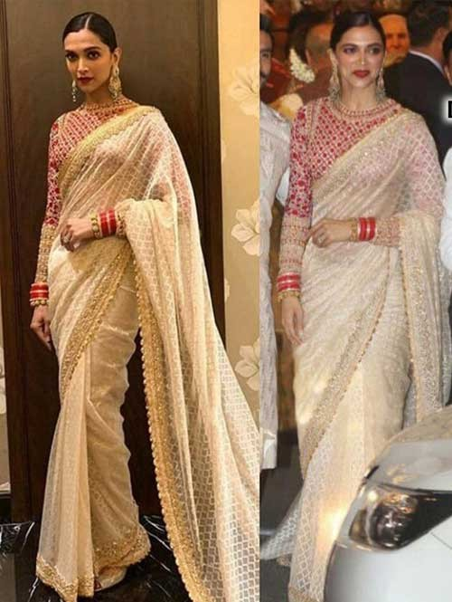 301a4ee8f0000c Deepika Padukone In Off White Mono Net Saree With Embroidered Work ...