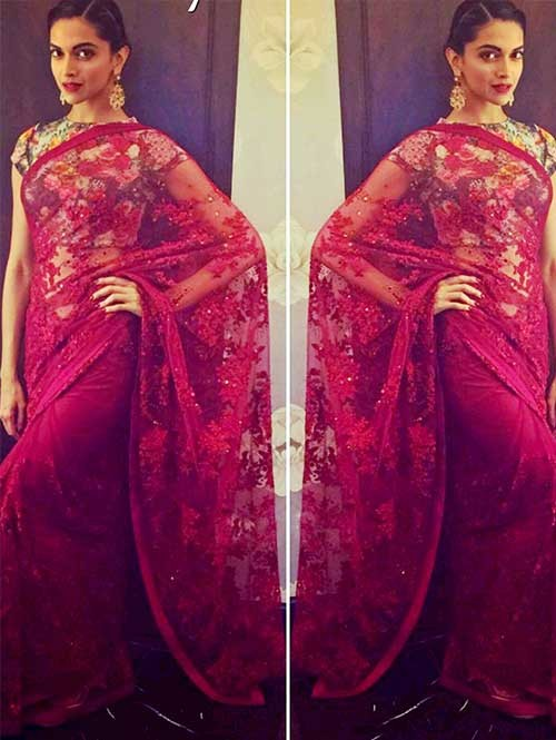 Deepika Red Nylon Net Embroidered Saree Online