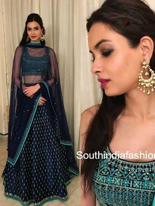 Diana Penty Blue Colored Beautiful Embroidered Banglory Silk Lehenga Choli