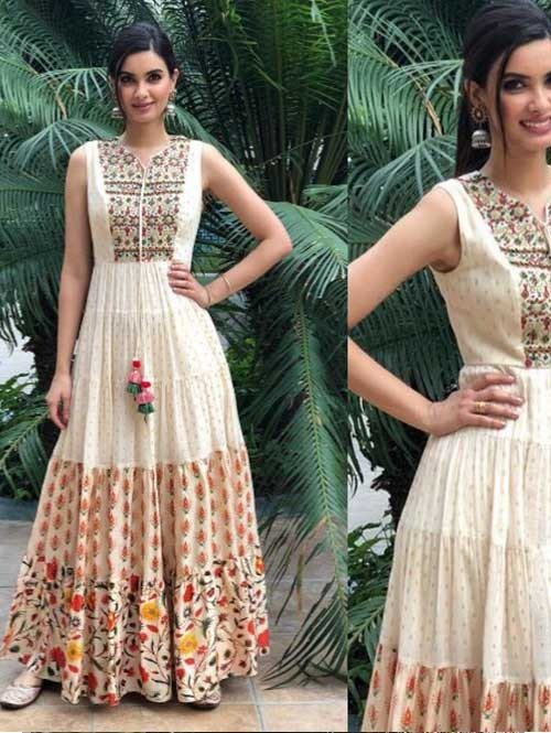 Diana Penty in Cream Colored Beautiful Muslin Banarasi Embroidered Gown