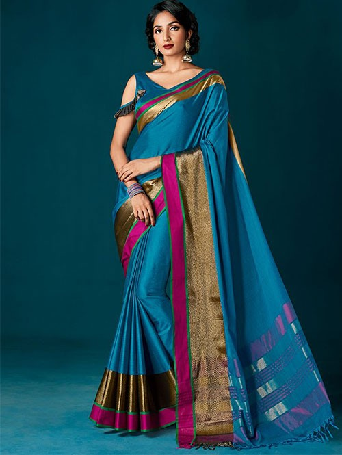 Different Nine Colored Beautiful Cotton Silk Sarees