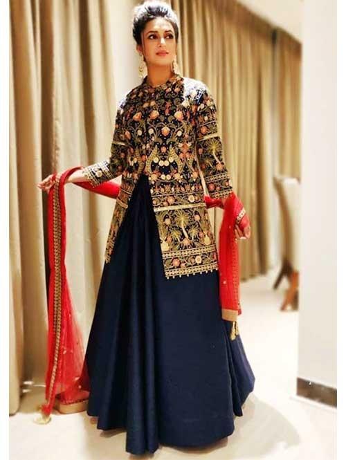 Divyanka In Blue Colored Tapeta Silk Lehenga With Beautiful Multi Top