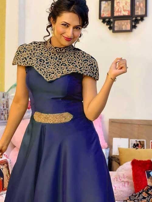 Divyanka Tripathi in Blue Colored Beautiful Tafeta Silk Zari Worked Long Stitched Gown
