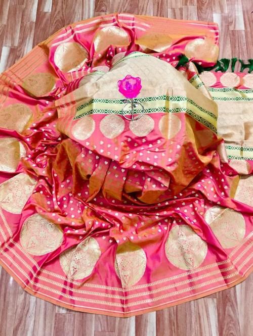 Elegant Look Banarasi Soft Silk Saree in peach