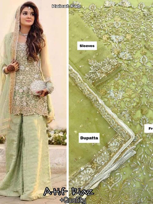 Embroidered Net Pakistani Suit in Pista