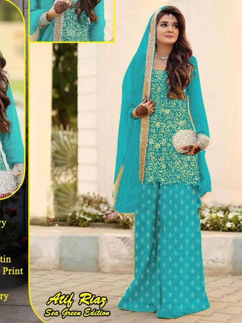 Embroidered Net Pakistani Suit in Sky