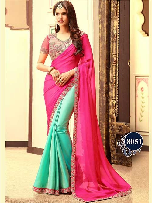 Embroidered Pink-Aqua Color Paper Silk Fabric Saree With Blouse