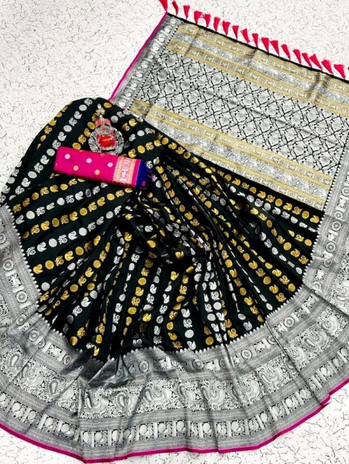 Black soft silk sarees online shopping