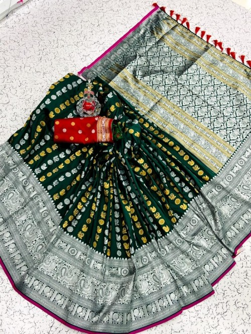 Exclusive Green soft silk sarees online shopping