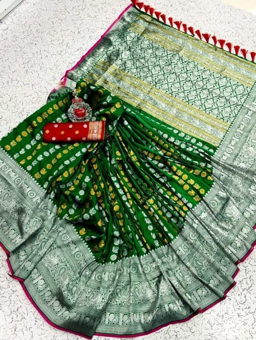 Green soft silk sarees online shopping