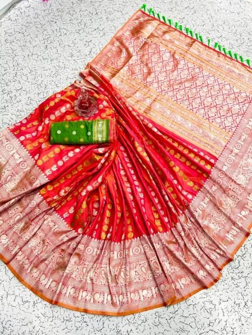 Orange soft silk sarees online shopping