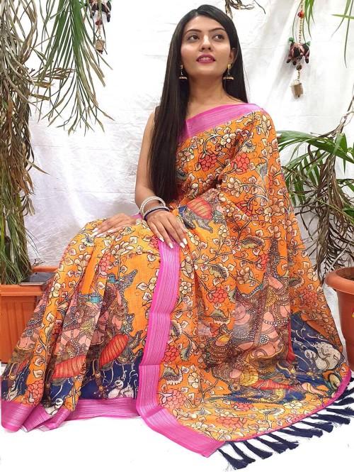 women's Fancy Kalamkari Linen Printed saree