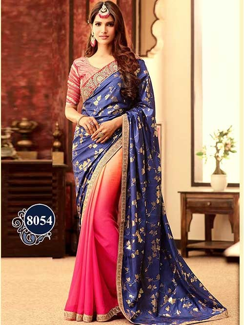 Festive Wear Blue-Pink Color Designer Silk-Chiffon Fabric Saree With Embroidered Border Work