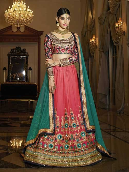 Gajri Colored 2 Tone Beautiful Heavy Embroidered Silk Lehenga Choli