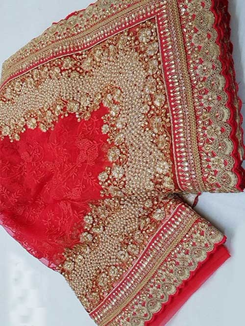 Gajri Colored Beautiful Embroidered Net Saree With Dimond work and Pearl work