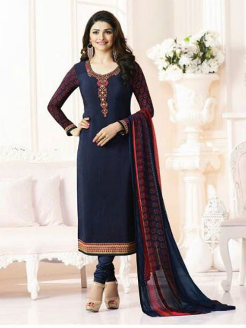 Blue Colored Casual wear Beautiful Embroidered Crepe Suit