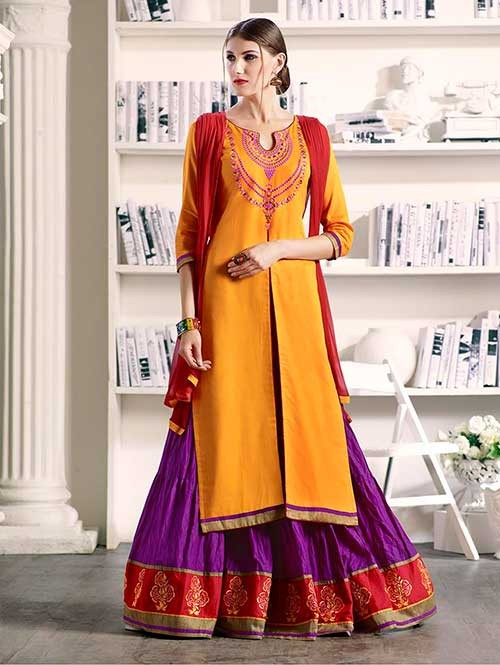 Yellow Colored Beautiful Embroidered Silk Cotton Lehenga Suit