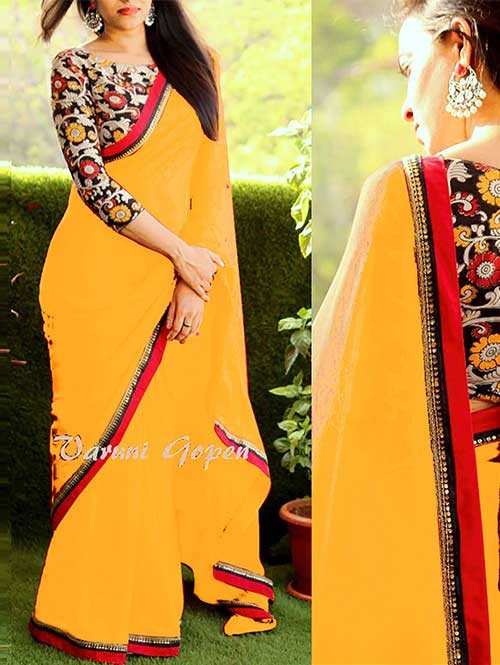 Yellow Colored Beautiful 60gm Georgette Saree