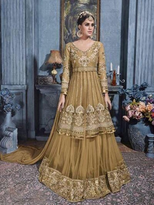 Golden Colored Beautiful Heavy Embroidered Net Lehenga