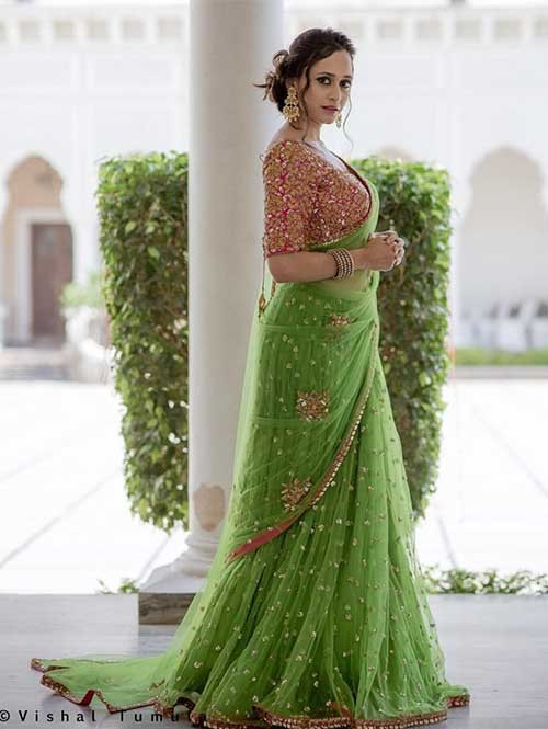 Gorgeous Green Colored Beautiful Embroidered Nylon Net Traditional Festive Look Saree