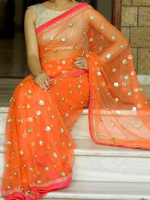 Gorgeous Orange Colored Beautiful Embroidered Nylon Net Traditional Festive Look Saree