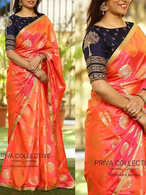 Gorgeous Orange Colored Beautiful Embroidered Silk Jacquard Traditional Festive Look Saree