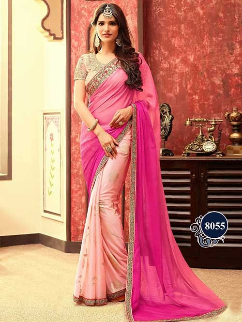 Gorgeous Pink and Cream Indian Women Fashion Chiffon and Lycra Foil Traditional Festive Look Saree