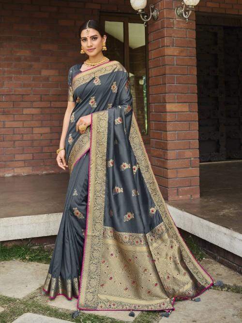 grey colour banarasi saree grabandpack