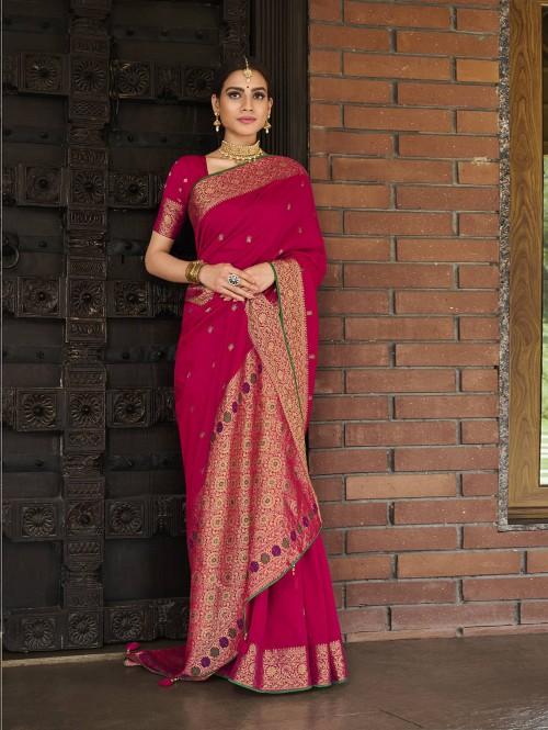 pink silk saree with golden border GrabandPack