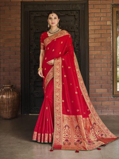 red saree online grabandpack