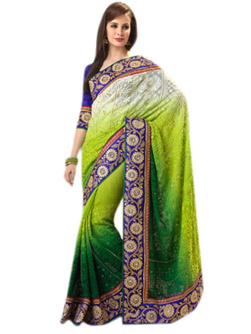 Green and Beige Colored Pure Georgette Designer Saree with beautiful Embroidery