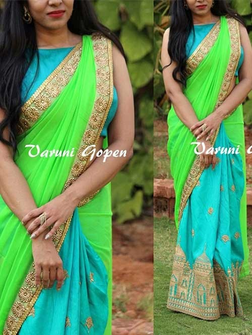 Green and Blue Colored Beautiful 60gm Georgette Saree