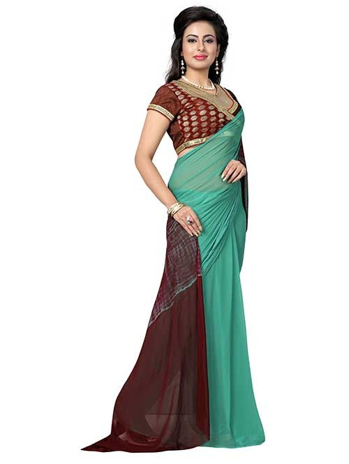 Green and Brown Nazneen Shibori Sarees With Ready made Blouse