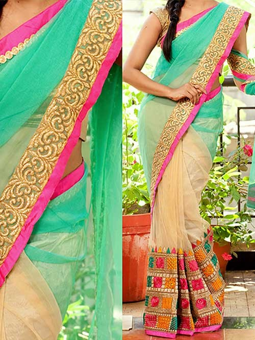 Green and Cream Colored Beautiful Embroidered 60gm Georgette and Nylon Net Saree