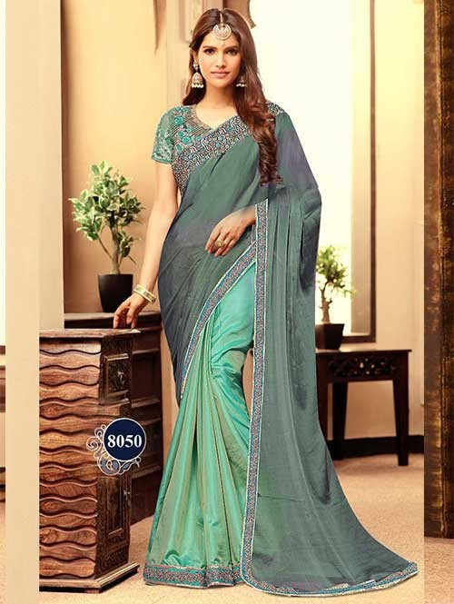 Green and Grey Color Stylish Half and Half Chiffon and Paper Silk Saree With Blouse