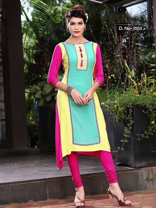 Green and Pink Colored Beautiful Rayon Printed Kurti