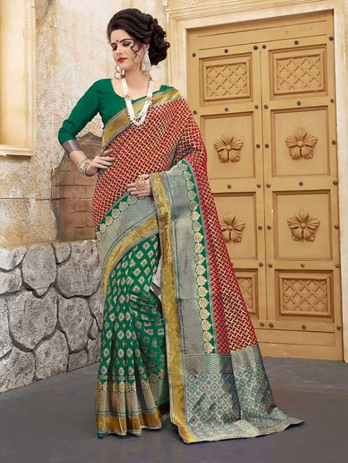 Green and Red Colored Beautiful Soft Banarasi Silk Fancy Saree Online