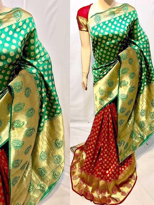 Green And Red Colored New Arrival Banarasi Silk Saree