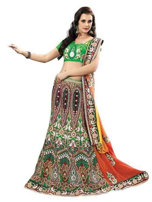Green and Yellow Colored Net Lehenga Saree with Embroidery and Satin Inner Georgette Pallu With Stone Work