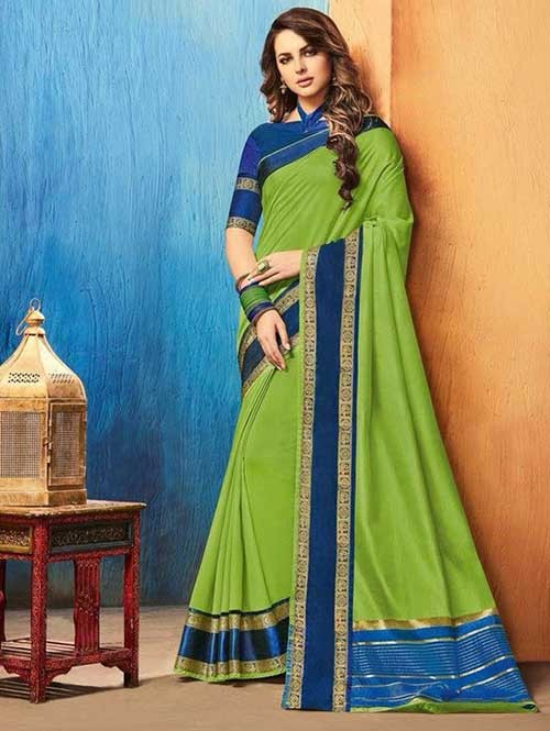 Green Color Beautiful Cotton Silk Saree