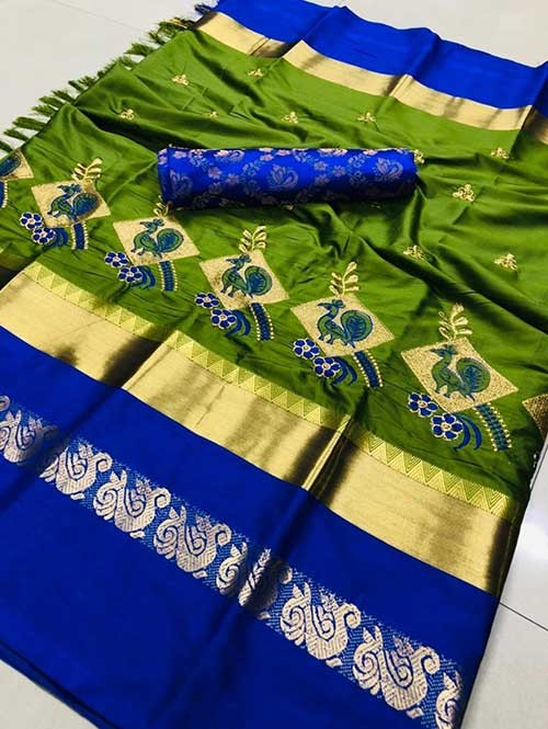 Green Color Beautiful Embroidered Cotton Silk Saree Have beautiful Weaving Border