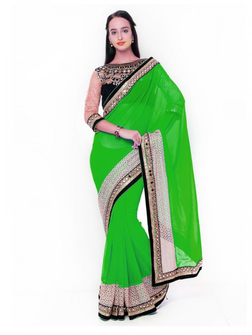 Green Color Beautiful Georgette Saree with velvet embroidered Blouse
