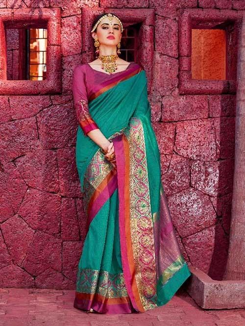 Green Color Beautiful Handloom Waving Silk Saree