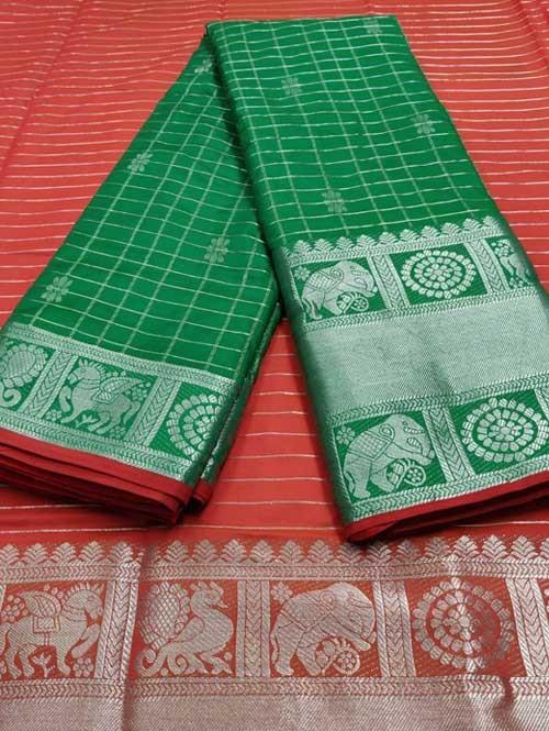 Green Color Beautiful Silk Saree With Zari Weaving Border - Naksharta