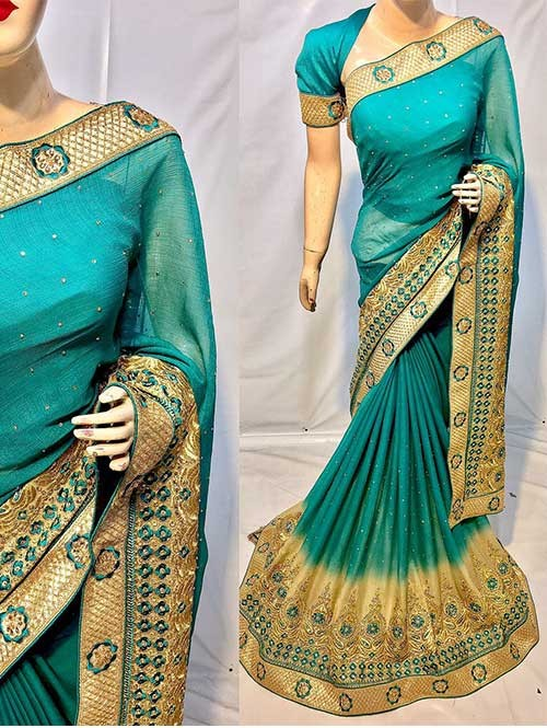 Green Color Beautiful Soft Chiffon Fabric Saree With Two Tone Effect Also Have Embroidery and Stone Work