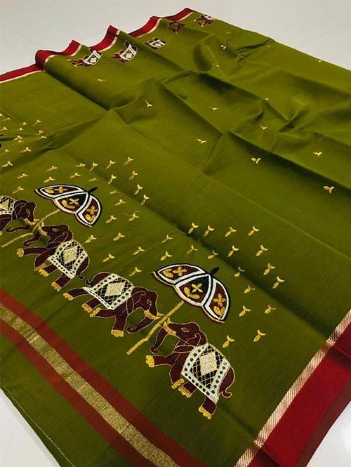 Green Color Beautiful Weaving Cotton Saree - Twinsland