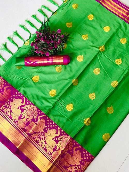 Green Color Beautiful Weaving Cotton Silk Saree - Anmol
